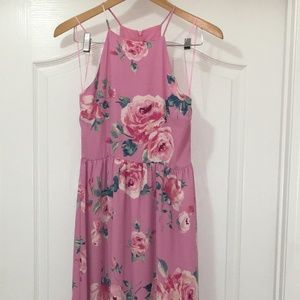 Everly Halter Floral Sleeveless Maxi Dress Size S